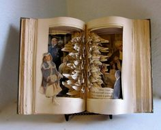Altered book with Christmas tree inside