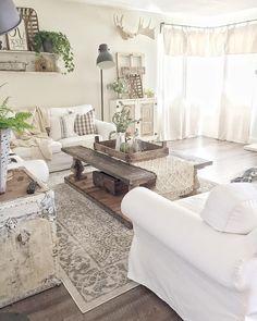 06 Cozy Modern Farmhouse Style Living Room Decor Ideas