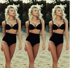 Classic Retro Style High Waist Padded Push Up 2 PC Bikini Bathing Suit S-XL