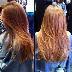 Soft Ginger-Red Long Straight Hair with Generous Layering