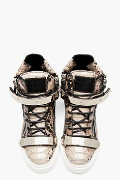 b958eecdff934b GIUSEPPE ZANOTTI Beige   black Snake London Sneakers Wedge Sneakers