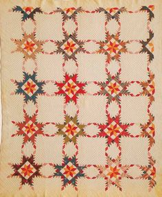 Touching Stars, 1900. Made by Lillie Ann McBee Daughert. Cooke Co, Texas.