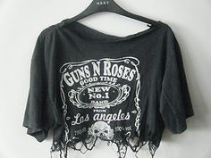 Grunge Indie Hipster DIY Distressed Guns N' Roses Crop Top Band Tshirt