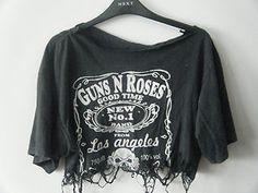 Grunge Indie Hipster DIY Distressed Guns N' Roses Crop Top Band Tshirt