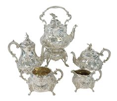 For Sale on - A superb quality, antique Victorian, hand chased sterling silver tea and coffee service, complete with the original tilting pot on stand with burner. Silver Tea Set, Coffee Service, Coffee Set, Mid Century Modern Furniture, Flatware Set, Vintage Tea, Antique Silver, Tea Pots, Victorian