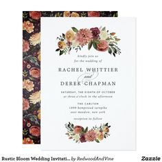 Shop Rustic Bloom Wedding Invitation created by RedwoodAndVine. Personalize it with photos & text or purchase as is! Addressing Wedding Invitations, Burgundy Wedding Invitations, Cheap Wedding Invitations, Beautiful Wedding Invitations, Elegant Wedding Invitations, Custom Invitations, Invites, Invitation Templates, Invitation Design