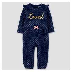 Baby Girls' French Terry Dot Loved Jumpsuit - Just One You™ Made by Carter's® Navy : Target