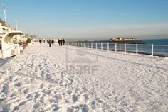 Hastings, England - December 3, 2010 - The snow covered seafront during Britains coldest Winter in 100 years.