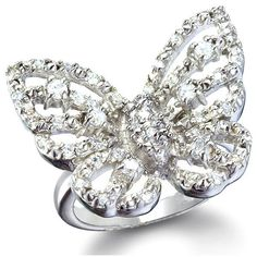 Mariah's Silver Imitation Diamond Butterfly Ring - Fantasy J... - Polyvore
