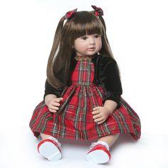 Silicone Reborn Babies, Silicone Baby Dolls, Reborn Toddler, Reborn Baby Dolls, Princess Girl, Long Hair Princess, Shops, Dress Hairstyles, Plaid Christmas