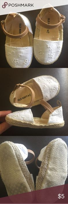 Old navy white eyelet espadrilles In great condition. Some wrinkling on the inside due to washing. 18-24 months. Soft soles. Velcro closure. Old Navy Shoes Baby & Walker