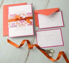 Pink and orange wedding invitation