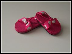 Pink with White Polka dot Sandals for American Girl Doll on Etsy, $7.50