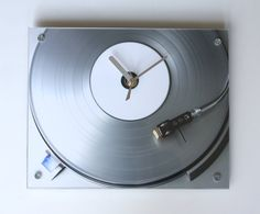 Silver Ice Vinyl Record Clock by blueorder on Etsy, $38.00