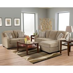 Circa Taupe Living Room Sofa with Chaise, Loveseat, Chair