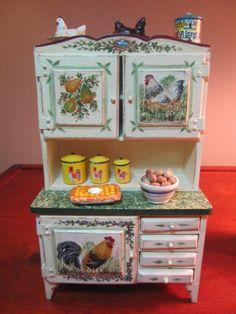 Dollhouse Artist Painted Dining Kitchen Area Rooster Themed Table Hutch More | eBay