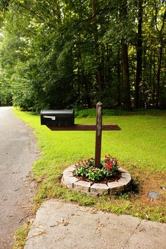 mailbox flower bed. accomplished