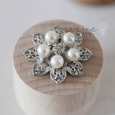 Large pearl embellishment with crystal details. DIY wedding stationery decorations. Make your own wedding invitations
