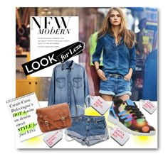 #Denim Edition - Create Cara Delevingne's HOT street style for just $185 by nikkisg on Polyvore featuring H&M, adidas, DKNY, Tag, LookForLess and CaraDelevingne