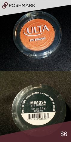 Ulta Mimosa Full Size Eye Shadow Ulta New Mimosa Full Size Eye Shadow 0.08 oz If you have any questions or you need anymore pictures please let me know.  Thanks for looking. Ulta Makeup Eyeshadow