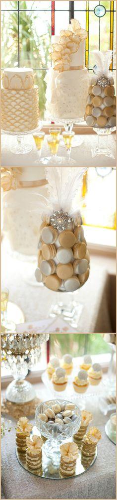 Wedding ● Dessert Table Decorations ● Gold & Cream