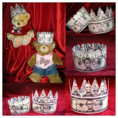 Money crowns for baby prince and princess on their christening. Available upon request with any denomination of bills. For price and ordering please text, message or call Margarita @ 818-903-2202
