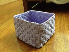 This is a basket weave crochet basket, made of 500 gr cotton fibers. It takes about 20 hours to finish. Very simple style.
