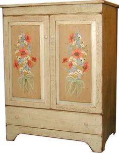 Amish Poppy Nosegay Rustic Entertainment Center