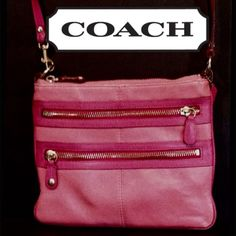 """COACH two tone pink leather crossbody Shoulderbag Authentic beautiful two tone pink leather COACH crossbody/shoulder bag is very good condition.  Some minor wear along the piping, but still unique and in great shape!! Measures 9"""" wide x 7 1/2"""" high. Coach Bags Crossbody Bags"""