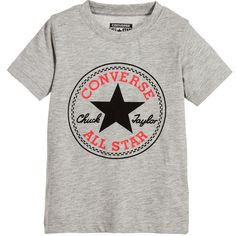 01c7731d0107 Converse Grey Marl Cotton T-Shirt with All Star Logo Print Kids Converse  Shoes