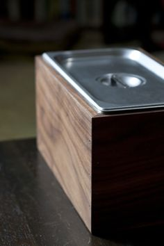 diy countertop compost bin steam pan insert into wood box