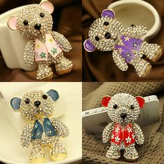 1 Piece Huge Luxury Bling Crystal Alloy Bear Charm Stud Accessories Kawaii Cabochon DecoDen on Craft Phone Case DIY Deco kit