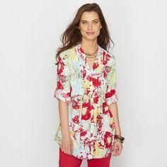 Blusa estampada, modelo túnica, tecido fluido
