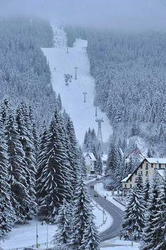 Ski slopes in Poiana Brasov resort, Romania . If you are looking for a ski… Macedonia, Places To Travel, Places To Visit, Brasov Romania, Visit Romania, Best Ski Resorts, Ski Slopes, Ski Holidays, Winter Scenery