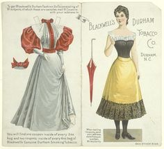 Fabulous paper doll, offered as premium for coupons sent in, Blackwell's Durham Tobacco