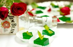 Mint Julep Jell-O Shots. Can't decide if these would be horrible or delicious.