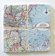 I'm kind of obsessed with maps lately. Love these decoupaged coasters at Etsy. $25 for a set of four.