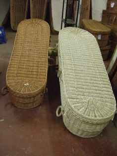 This picture shows the colour difference between our Cromer coffin in it's natural colour and in the white.