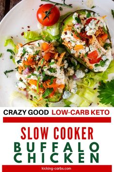 If you are on a low carb diet, you need this Crockpot Keto Buffalo Chicken in your recipe arsenal!  So easy to make in your slow cooker and the tender chicken is RIDICULOUSLY GOOD! The perfect easy recipe for back to school!  #kickingcarbs #lowcarbrecipes #ketorecipess #buffalochicken #glutenfreerecipes Gluten Free Recipes For Breakfast, Healthy Gluten Free Recipes, Gluten Free Dinner, Dinner Recipes, Keto Crockpot Recipes, Baked Chicken Recipes, Dump Meals, Easy Meals, Buffalo Chicken Sandwiches