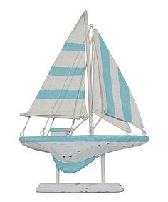 Gotta love a tiffany blue cabana stripe on a Sailboat! Coastal Home Décor