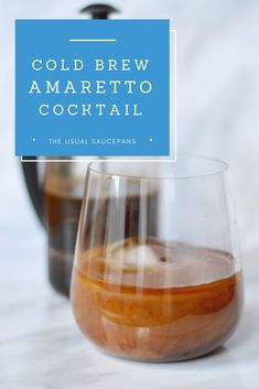 This is the coffee cocktail you've been looking for in your life. It's a cold brew amaretto cocktail that is smooth and delicious whilst with coffee and nutty flavours. Cocktail Desserts, Bourbon Cocktails, Coffee Cocktails, Fun Cocktails, Summer Drinks, Cocktail Recipes, Cocktail Drinks, Cocktail Amaretto, Winter Drinks
