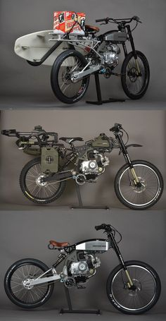 Motoped - Mountain Bike Meets Moped-the middle one is pretty rad Bobber Custom, Custom Motorcycles, Custom Bikes, Cars And Motorcycles, Moto Bike, Motorcycle Bike, Bike Look, Ducati, Moto Quad