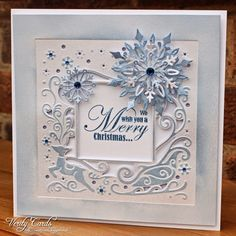 Here is a sneaky peek of the new Christmas Create a Card diesfrom Crafter's Companion !!I have to say I love this die !! This was so quick and easy to make !I cut and embossed the die on a piece of