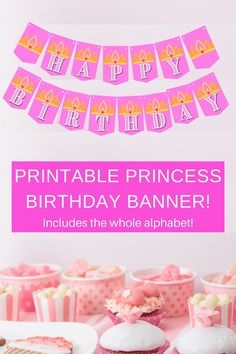 Planning a princess party soon? Check out our free printable birthday banner, also included is the entire alphabet! Simply print, cut and hang up. Each of the bright pink banner pieces have a cute little crown on it. Birthday parties get to be so expensive, so this little party diy, can help offset some of the cost. Save this pin for future reference and visit us at VanahLynn.com  For more party planning tips visit our blog and see first birthday ideas cake pops and diy party decor.