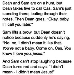 Supernatural--I don't ship Destiel, but I couldn't resist this one.. It's too funny