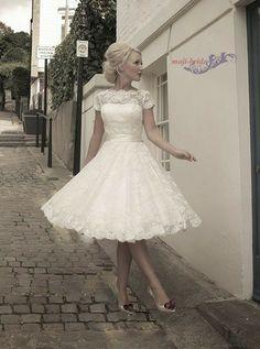 Short sleeve tea length lace wedding dress