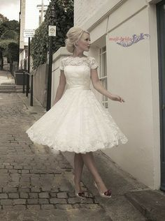 Short sleeve tea length lace wedding dress