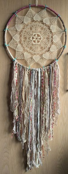 Bohemian Spirit Vintage Lace Trim Dreamcatcher