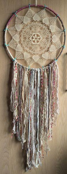 Bohemian Spirit Vintage Lace Trim Dreamcatcher by karen michel