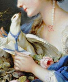 Arte, dettagli, veli, sensualità e ingenuità ! Art, details, veils, sensuality and naivety! - Mannlich, Johann Christian von (b,1741)- Woman Fastening Letter to Neck of Pigeon, c 1760 -2d